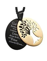 HZMAN 两件套 Serenity 祈祷不锈钢吊坠项链 带生命树切出 黑色和金色