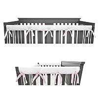 American Baby Company 3 件套加垫婴儿床护栏保护套,适用于标准婴儿床,超柔软,适合侧面和前部护栏 粉色/白色 Combo Set