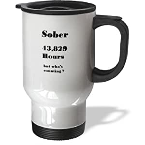 3dRose tm_163422_1 Image of Sober 5 Years or 43829 Hours in Words Stainless Steel Travel Mug, 14-Ounce