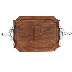 "CHUBBCO W300-SLH-P Bar/Cheese Board with Longhorn Cast Aluminum Handle with Scalloped Corners, 9-Inch by 12-Inch by 0.75-Inch, Monogrammed ""P"", Walnut"