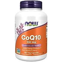 NOW 诺奥 补充剂,辅酶Q10,100毫克 ,含山楂浆果,医药级,发酵产品,180个蔬菜胶囊
