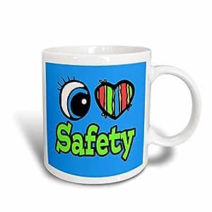 3dRose Bright Eye Heart I Love Safety Ceramic Mug, 11-Ounce