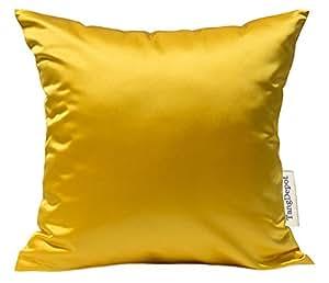 "TangDepot 纯色丝滑抱枕套,闪亮奢华靠垫套 金色 26"" x 26"" TPCover-HiQSilk-26x26Gold"