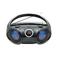 SINGING WOOD CD 播放器Boombox,CD/CDRW/CD-MP3便携式/w蓝牙,USB,AM/FM收音机,AUX输入,耳机插孔,可折叠手柄和LED灯SBX030BTL