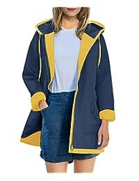 AUU 女式防雨夹克防水连帽雨衣轻质户外拼接风衣带内衬和口袋