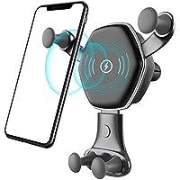 无线车载充电器,Miya Baby 快速充电底座可调节重力风口手机支架,7.5W 兼容手机 XR/XS Max/X/8/8 Plus,10W 适用于 Galaxy S9/S9+/S8+/LG G7