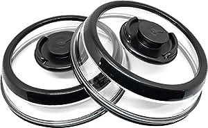 PressDome 通用真空密封食品密封器容器盘底盖顶盖,2 包 黑色 10 英寸