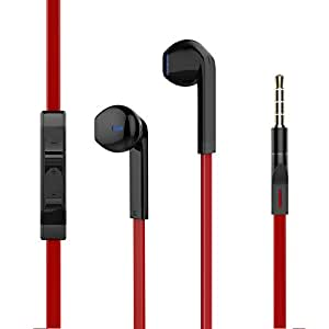 耳机,耳机带麦克风立体声麦克风遥控音量控制,兼容 3.5 毫米耳机(红色 2) 红色