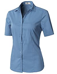CLOVERY 女式短袖基本款系扣修身款罗马衬衫