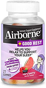 Schiff 旭福 Airborne  维生素C混合+ L-茶氨酸和维生素 浆果软糖Airborne (1瓶27粒)