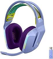 Logitech 罗技 G733 LIGHTSPEED无线游戏耳机带悬架头带,LIGHTSYNC RGB,Blue VO!CE麦克风技术和PRO-G音频驱动器 - 丁香色
