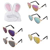 DPLUS 宠物护目镜太阳镜 - 5 件装新款心形猫/狗护目镜 - 经典复古圆形金属圆形眼镜,适合猫、吉娃娃或小型犬 with rabbit hat