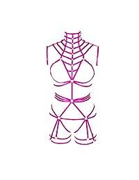 女性身体胸背带文胸吊带柔软空心嘉年华舞蹈配饰朋克哥特式可调腰带 (0130)