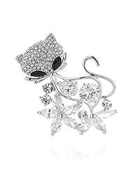 SP Sophia Collection 花卉猫胸针装饰水钻黑色眼针 银色