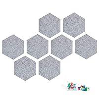 六边形毡板瓷砖公告板 8inchs 浅灰色