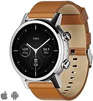WearOs 智能手表适用于摩托罗拉 Moto 360 3。 代,不锈钢外壳,带20毫米表带,全天电池,钢灰色