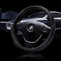 Autocastle 汽车方向盘套汽车内部配件-超细纤维皮革防滑缠绕通用无味 38.1 cm FS-SW6711-B