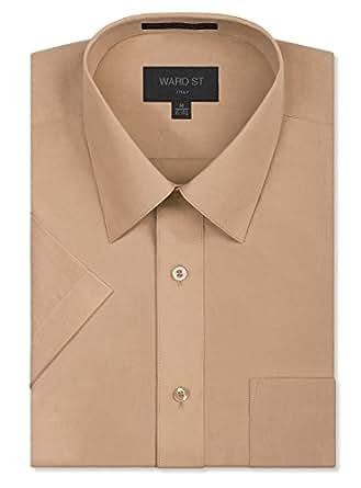 Ward St 男士常规版型短袖衬衫 Blush Khaki 2XL / 18-18.5 Neck