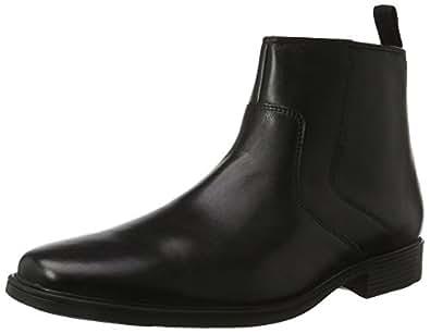 Clarks Men's Tilden Zip Chelsea Boots Black (Black Leather) 6.5 UK