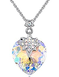 VPKJewelry 心形星装饰项链水晶吊坠链采用施华洛世奇元素 3 倍镀金 Aurore Boreale