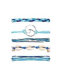 5 件套波浪串脚链手链套装女士女孩波西米亚可调防水手工编织绳壳手链适合夏季/海滩/冲浪