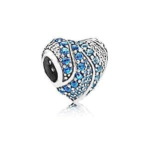 蓝色 925 纯银吊坠 Ocean Blue Crystal Pave Heart Charm