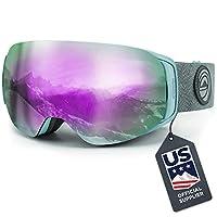 WildHorn Outfitters Roca 滑雪護目鏡和滑雪護目鏡 - 高級滑雪護目鏡男士,女式兒童。 功能快速更換磁鏡系統集成夾鎖。