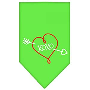 Mirage Pet Products XOXO Screen Print Bandana for Pets, Large, Lime Green