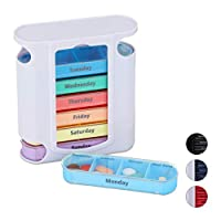 Relaxdays 药盒 7 天 每周药盒 4 个隔层 英语 药盒 带滑动盖 白色 - 彩色 Standard 10023633_828