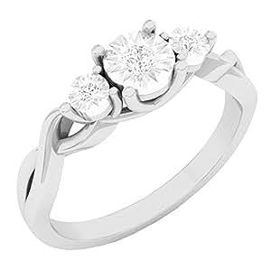 0.10 Carat (ctw) 10K White Gold Round Diamond Ladies 3 Stone Engagement Ring 1/10 CT (Size 7)