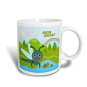 3drose belinha fernandes–成长绿色儿童–成长绿色 Message 和 Dragon FLY IN THE SKY–马克杯 白色 11 oz