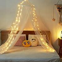 Twinkle Star 床顶蓬 100 个 LED 星星灯串 电池供电 优雅圆顶床网 遮篷 窗帘 遮篷 适用于单人床至特大床尺寸的床 家庭和旅行使用 白色