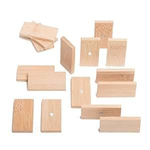 冰箱和白板磁贴由竹制成 - 四种不同的形状 - 圆形、方形、矩形和三角形 - 美丽、可爱和独特的木制冰箱和办公室磁铁 Rectangle, Bamboo