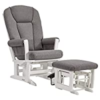 dutailier 现代 GLIDER with multiposition , recline 护理 Ottoman 组合,白色 / 深灰色