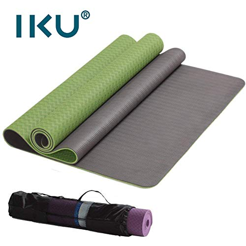 IKU 经典双层 tpe 80CM加宽瑜伽垫 加长防滑环保净味TPE瑜珈健身垫子 183cm*80cm*6mm 送背袋
