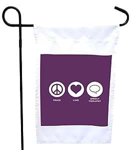 Rikki Knight Peace Love Speech Therapist 紫色房屋或花园旗,30.48 x 45.72 cm 旗帜尺寸带 27.94 x 27.94 cm 图像