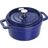 STAUB 珐琅铸铁锅具1102091 Cocotte系列 ,圆形,20厘米,铸铁焙烧炉,深蓝色