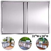 CIOGO BBQ 门 17x24 英寸 304 不锈钢冲洗门,适用于户外厨房、商业烧烤岛、烧烤架、户外橱柜、烧烤架、烧烤架、内置