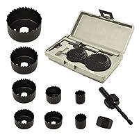 ryker 硬件 10 件装木孔锯套件 - 耐用碳钢动力钻孔切割器高精度切割齿 - 木工 HCS 孔锯套件 适用于木头、PVC、塑料、干墙