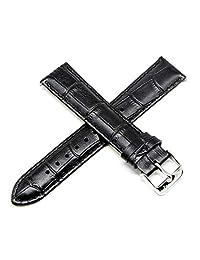 Lucien Piccard 20MM 鳄鱼纹真皮手表表带 20.32 cm 黑色银适合 Grivola Ortlet