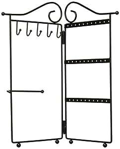 现代金属2面板花架折叠首饰架收纳适用于手链,耳环,项链