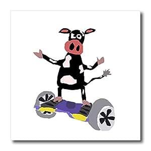 3D Rose 有趣 悬浮滑板上的黑色牛 机动滑板热转印,15.24 x 15.24 厘米,白色