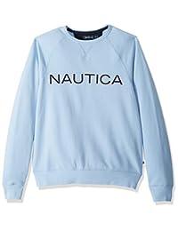 Nautica 男士长袖纯色法国罗纹圆领运动衫