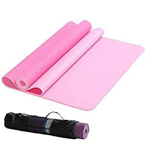 IKU 经典双色 tpe 80CM加宽瑜伽垫 加长防滑环保净味TPE瑜珈健身垫子 183cm*80cm*6mm 送背袋 (粉色)