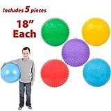 Mr. E=mc2 AbbyRose 45.72 cm 旋钮球 5 件装 | 多色可选 老鼠 男孩和女孩大球 | 适用于游乐场、日托、招待 | 感官集成玩具 | 出售打气型