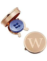 HAWSON 玫瑰金纽扣封面男式首字母字母 A-Z 正式商务普通衬衫首字母 W