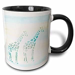 3drose PS animals–TWO 浅绿色 giraffes 动物艺术–马克杯 黑色/白色 11 oz