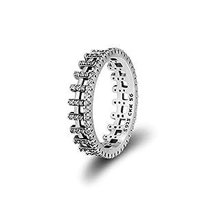 CKK 精致戒指 * 925 纯银立方氧化锆订婚婚礼新娘时尚珠宝无限爱戒指男女女孩生日礼物 Lattice Ring US 8.5 inch 0041CKR019-58