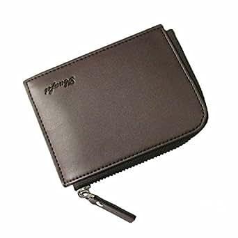 CATOP 男士 PU 皮革拉链钱包零钱包卡包 咖啡色 L12cm×W1cm×H9cm