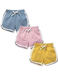 女孩 3 件装跑步运动棉质短裤,锻炼和时尚海豚夏季海滩运动